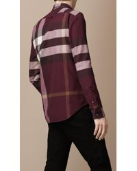 Burberry Brit Red Check Flannel Shirt for men