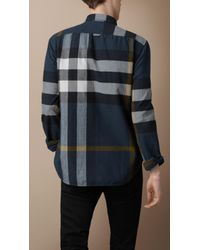 Burberry Brit Blue Check Flannel Shirt for men