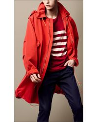 Burberry Brit Red Cotton Blend Military Parka for men