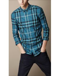 Burberry Brit Blue Exploded Check Cotton Shirt for men