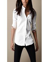 Burberry Brit White Slim Fit Check Cuff Shirt