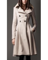 Burberry | Natural Fur Collar Full Skirt Coat | Lyst