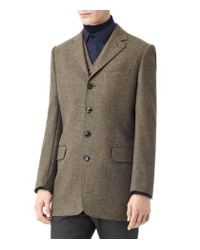 Reiss Brown Four Button Herringbone Blazer for men