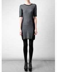 Rag & Bone White Datia Geometric Stretch Knit Dress