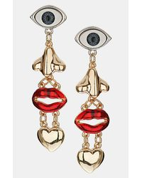 TOPSHOP | Multicolor Face Charm Earrings | Lyst
