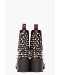 Jeffrey Campbell Black Leather 8th Street Spiked Red Toe