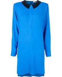 Stella McCartney Blue Collar Print Dipped Hem Dress