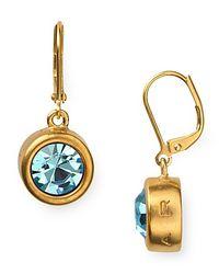 T Tahari - Metallic Round Crystal Leverback Drop Earrings - Lyst