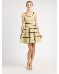 RED Valentino | Natural Striped A-Line Dress | Lyst