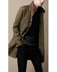 Burberry Brit Green Leather Detail Rain Coat for men