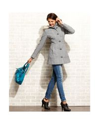 Esprit Gray Herringbone-Tweed Faux-Fur-Trim Hooded Coat