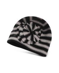 Sonia Rykiel Pink Striped Flower Wool Skull Hat