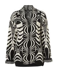 TOPSHOP Black Knitted Deco Jacquard Cardigan