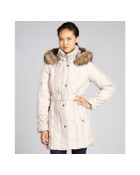 Betsey Johnson - Natural Belted and Hooded Down Filled Coat - Lyst