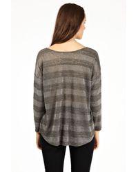 Oasis Gray Long Sleeve Sparkle Stripe Top