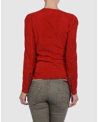Balmain Red Wrap-Effect Suede Jacket