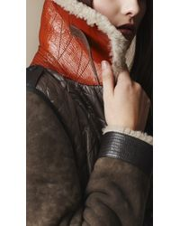 Burberry Brit Brown Shearling Detail Quilted Bomber Jacket
