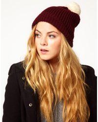 French Connection Brown Ribbed Bobble Beanie Hat