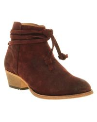 H by Hudson Purple Abney Wrap Ankle Boot Suede