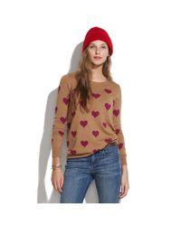 Madewell Brown Heart-stripe Sweater