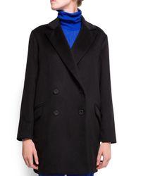 Mango Black Cashmere Woolblend Boxy Coat