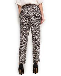 Mango Gray Animal Print Tapered Trousers
