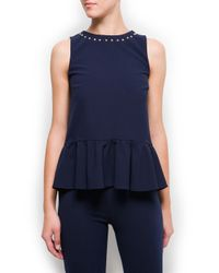 Mango Blue Studded Peplum Top