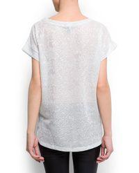 Mango White Open Work Metallic Tshirt
