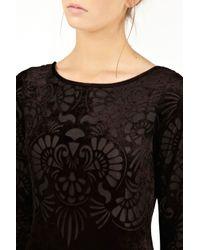 Oasis Black Velvet Burnout Dress