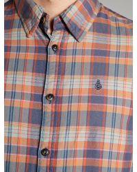 Scotch & Soda Blue Faded Checked Shirt for men