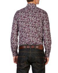 Ted Baker Purple Long Sleeve Floral Print Trim Fit Shirt for men