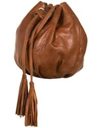 TOPSHOP Brown Leather Pouch Crossbody Bag
