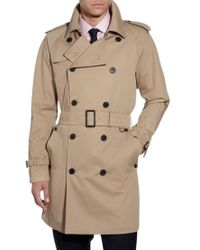 Aquascutum Natural Aquascutum Corby Double Breasted Raincoat Camel for men