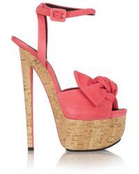 Giuseppe Zanotti Orange Bowdetailed Suede Sandals
