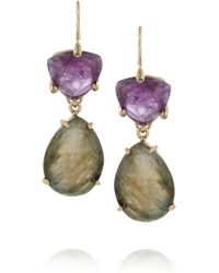 Isharya - Multicolor Libra Goldplated Amethyst and Labradorite Earrings - Lyst