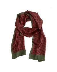 J.Crew Green Silk Scarf in Red Floral for men