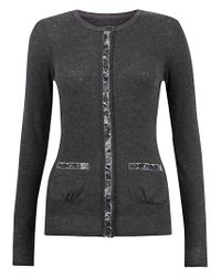 Jigsaw Gray Jigsaw Velvet Trim Cardigan Charcoal