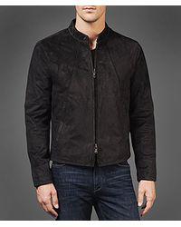 John Varvatos Gray Suede Moto Jacket for men