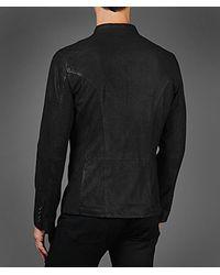 John Varvatos Black Suede Shirt Jacket for men