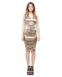 Nicole Miller Metallic Techno Metal Vneck Dress