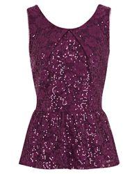 Oasis Oasis Sequin Lace Peplum Top Dark Purple