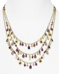 Ralph Lauren - Metallic Lauren Three Row Drop Necklace   - Lyst