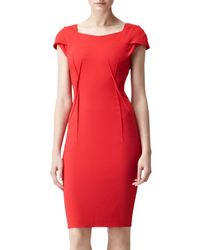 Reiss Red Reiss Venna Boat Neck Dress Flame