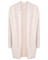 Reiss Pink Reiss Riva Cable Knitted Cardigan Fawn