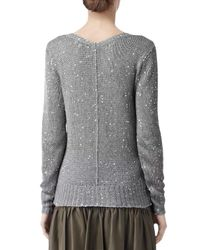 Reiss Gray Reiss Minky Sequin Vneck Jumper Silver