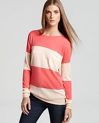 Theory Pink Tollie S Fine Preen Striped Sweater
