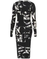 TOPSHOP Black Letter Print Bodycon Dress