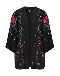 TOPSHOP Black Rose Embroidered Kimono