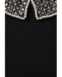 TOPSHOP Black Textured Crystal Collar Dress