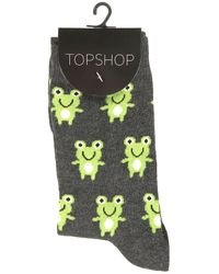 TOPSHOP Gray Cute Frog Ankle Socks